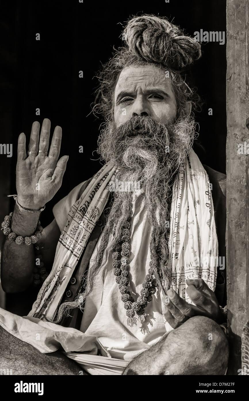 Sadhu in Pashupatinath temple - Stock Image