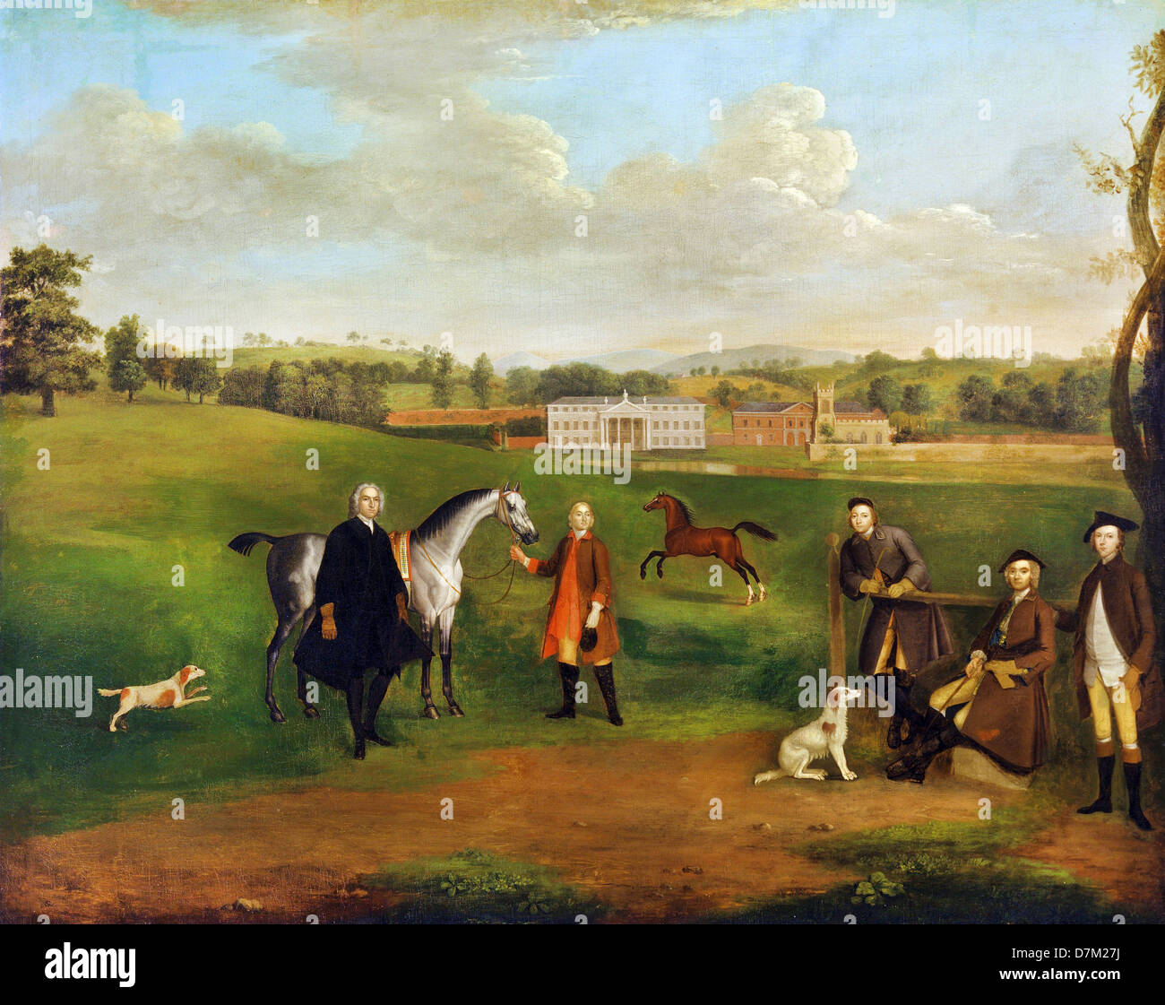 Arthur Devis, Leak Okeover, Rev. John Allen and Captain Chester at Okeover Hall, Staffordshire 1745-1747 Oil on - Stock Image