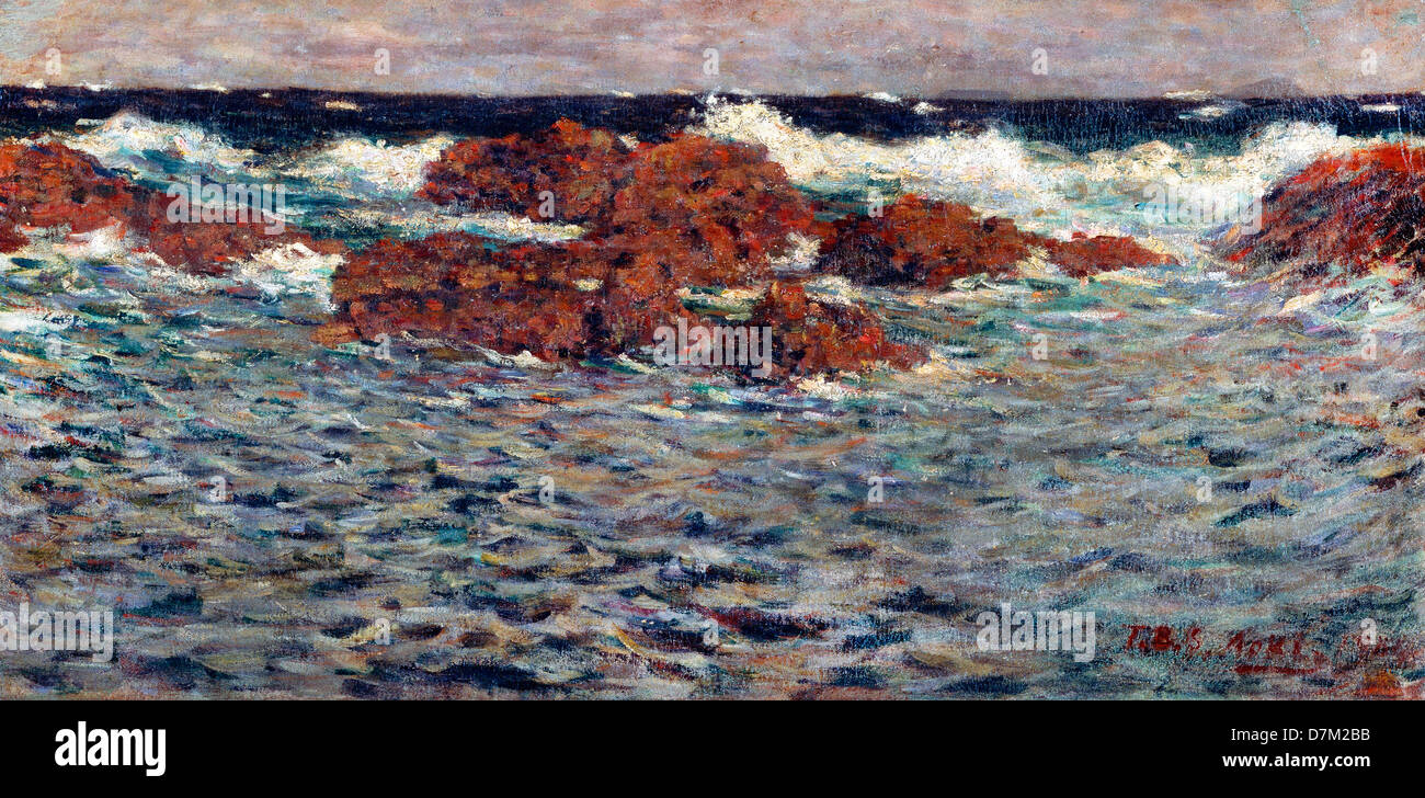 Aoki Shigeru, Seascape, Mera 1904 Oil on canvas. Bridgestone Museum of Art, Tokyo - Stock Image