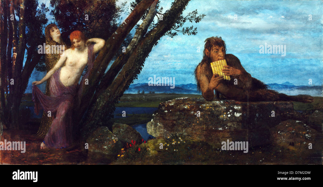 Arnold Bocklin, Spring Evening 1879 Oil on canvas. Museum of Fine Arts, Budapest. - Stock Image