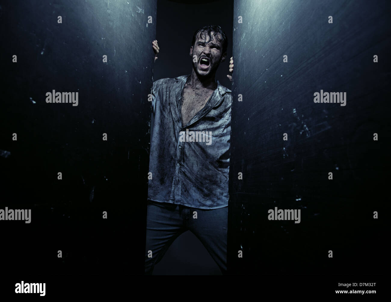 Dirty exhausted guy during adventure Stock Photo