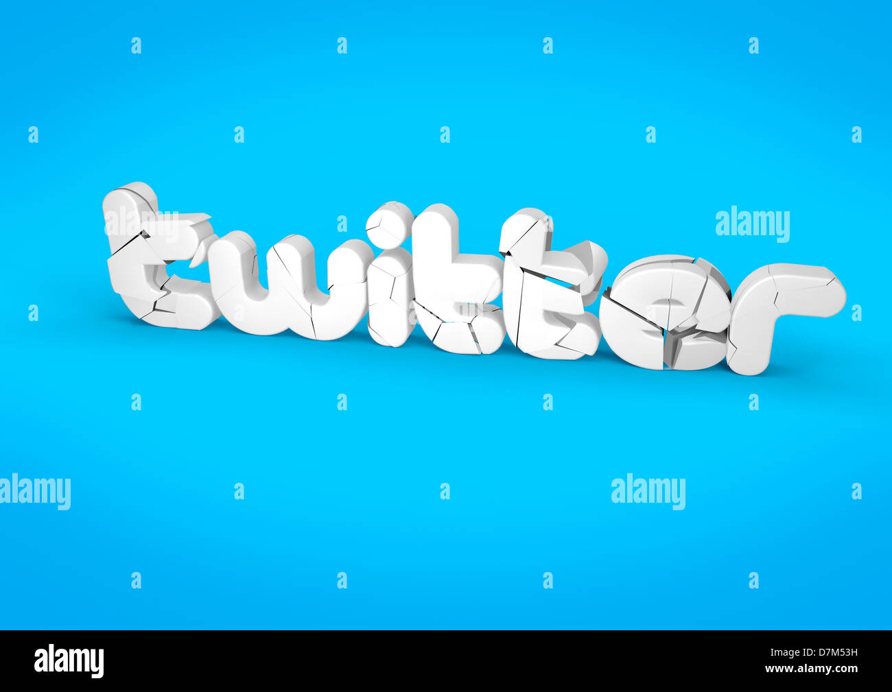 TWITTER cracking and crumbling - social media concept image - Stock Image