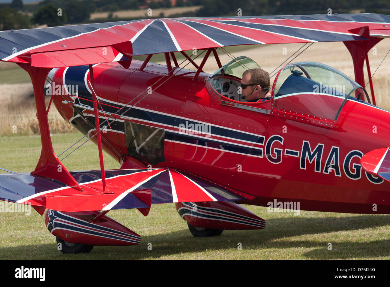 Pitts Special aerobatic plane preparing for takeoff - Stock Image
