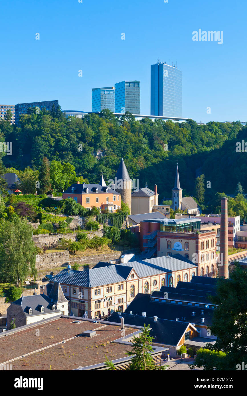 Luxembourg, Clausen district and European quarter in background - Stock Image