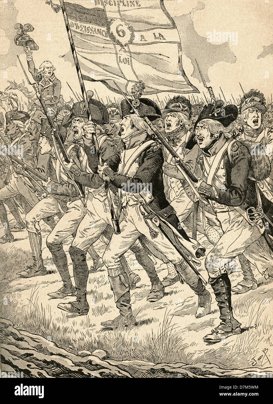The Battle of Valmy, 1792, during the French Revolutionary Wars. - Stock Image