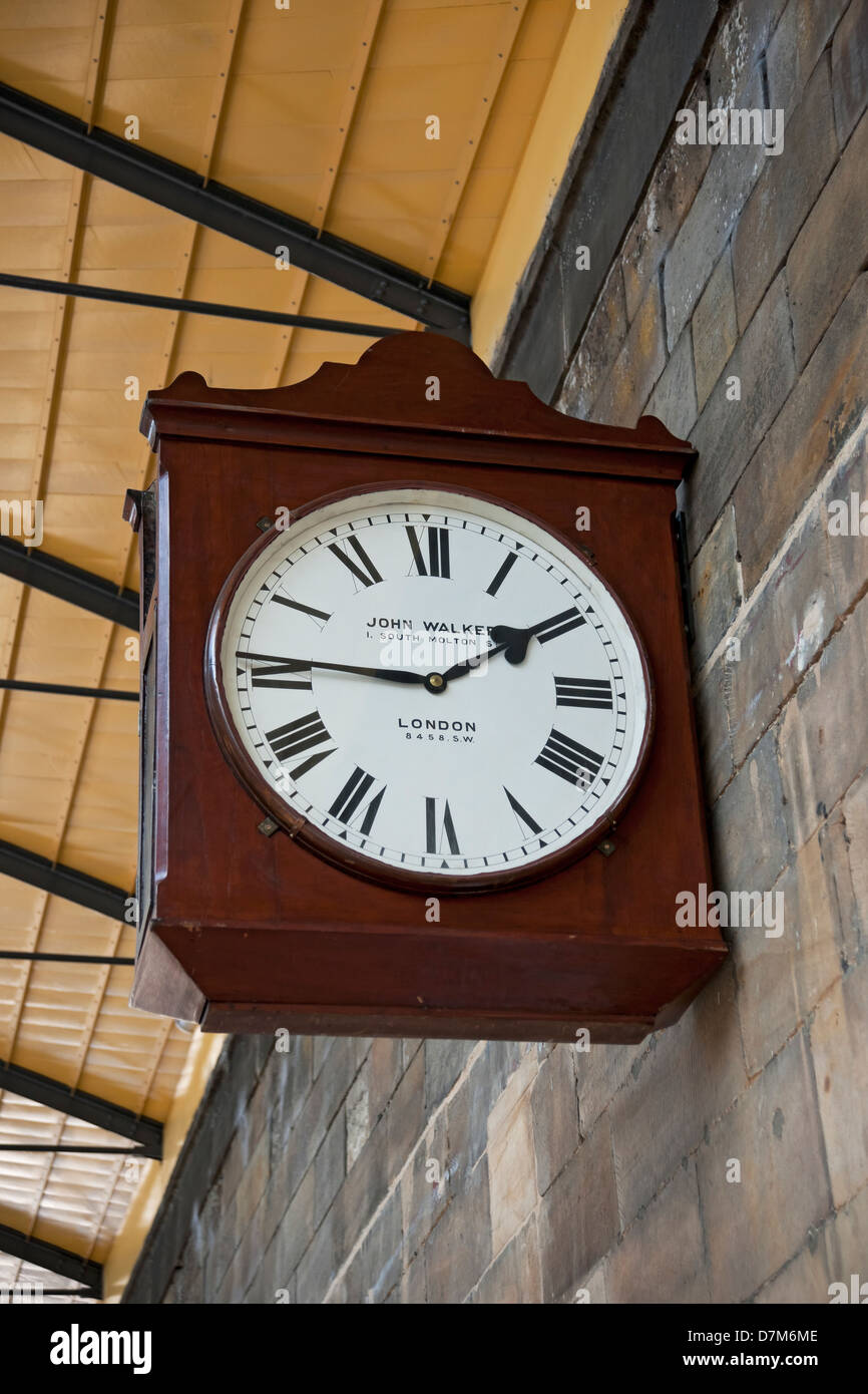 Clock at Pickering Railway Station North Yorkshire England UK United Kingdom GB Great Britain - Stock Image