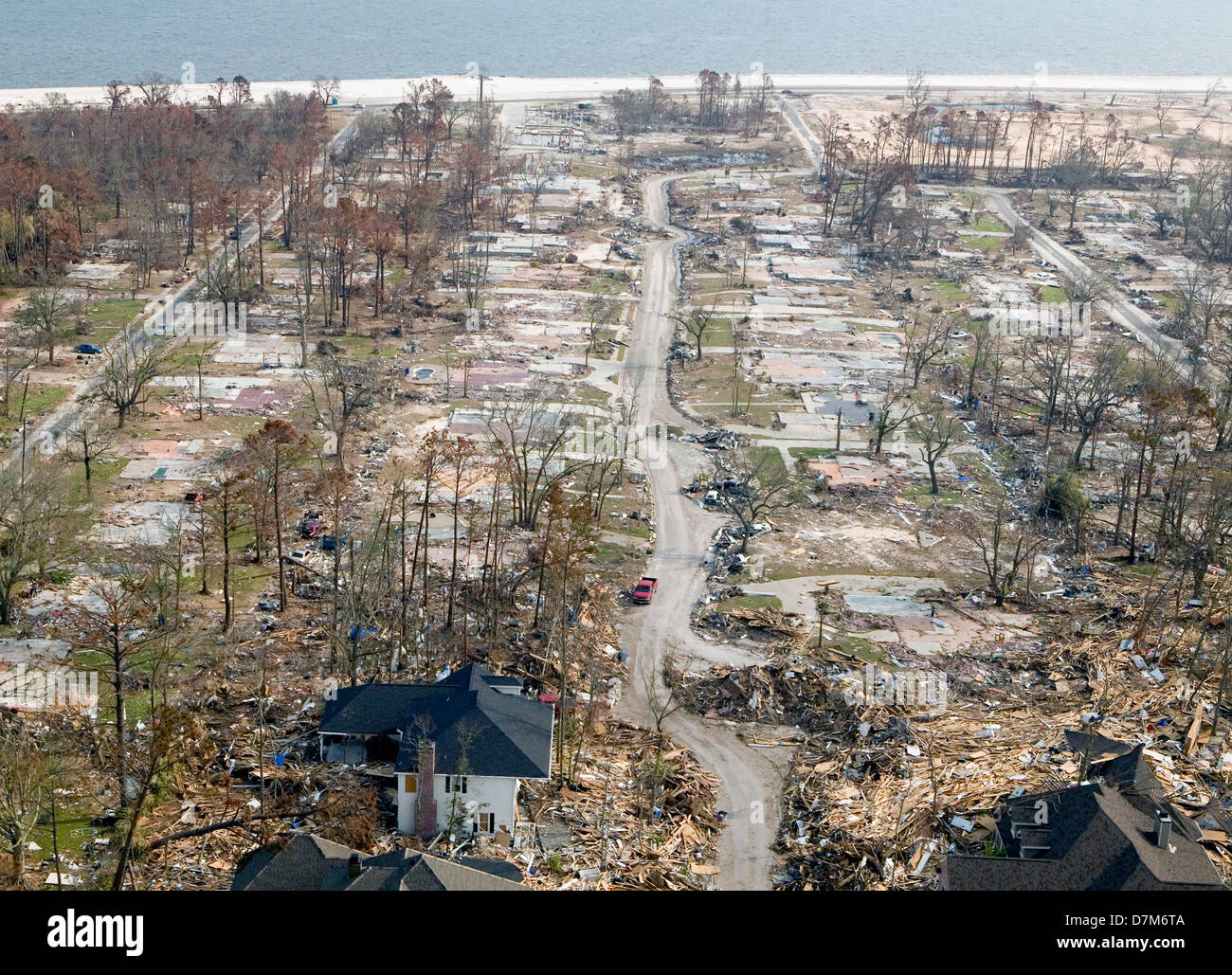 Shopping In Biloxi Ms >> Aerial view of destroyed homes in the aftermath of Hurricane Katrina Stock Photo: 56378122 - Alamy