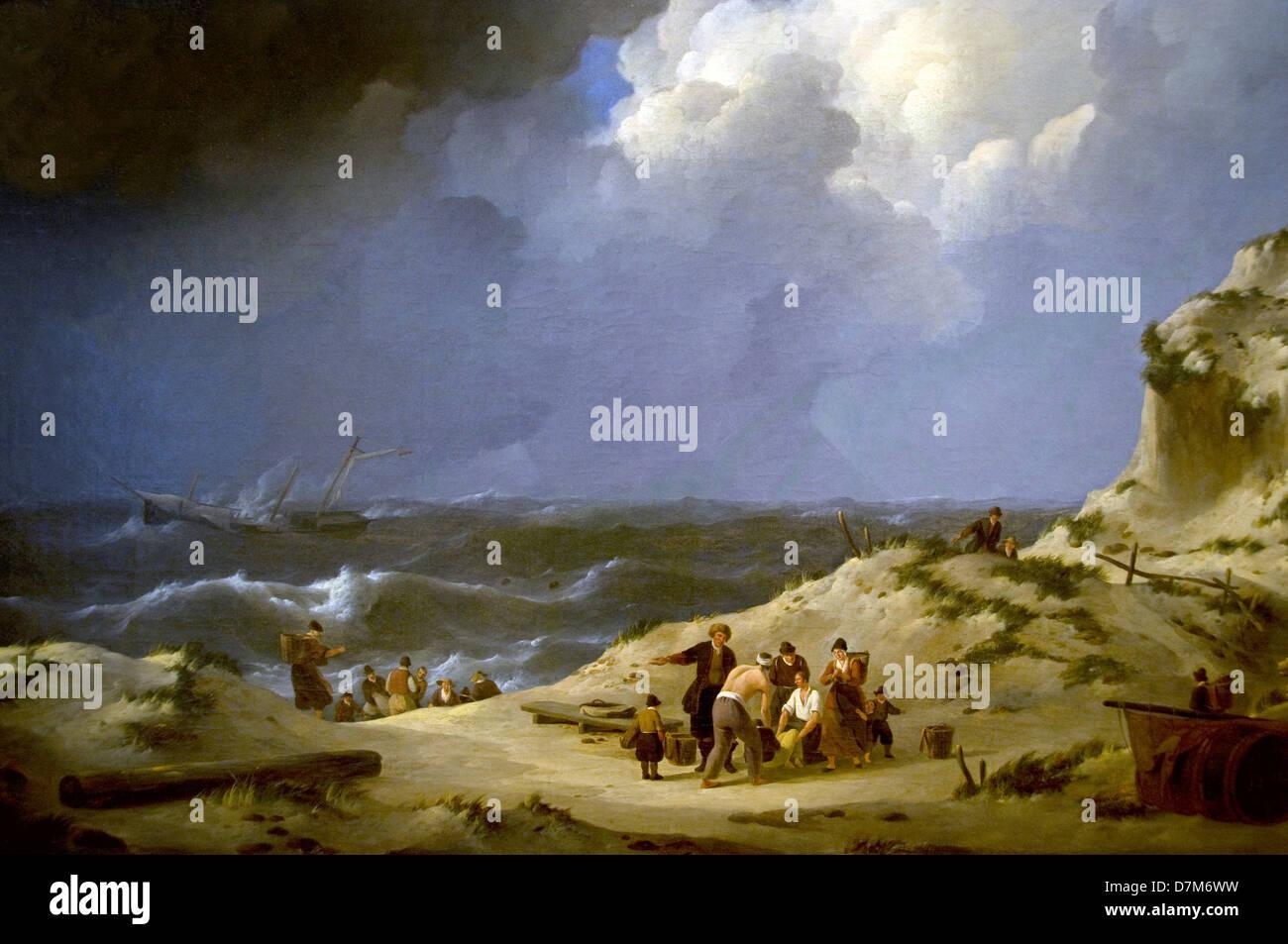 Johannes C Schotel 1822 shipwreck Delphine Zandvoort  Museum Netherlands - Stock Image
