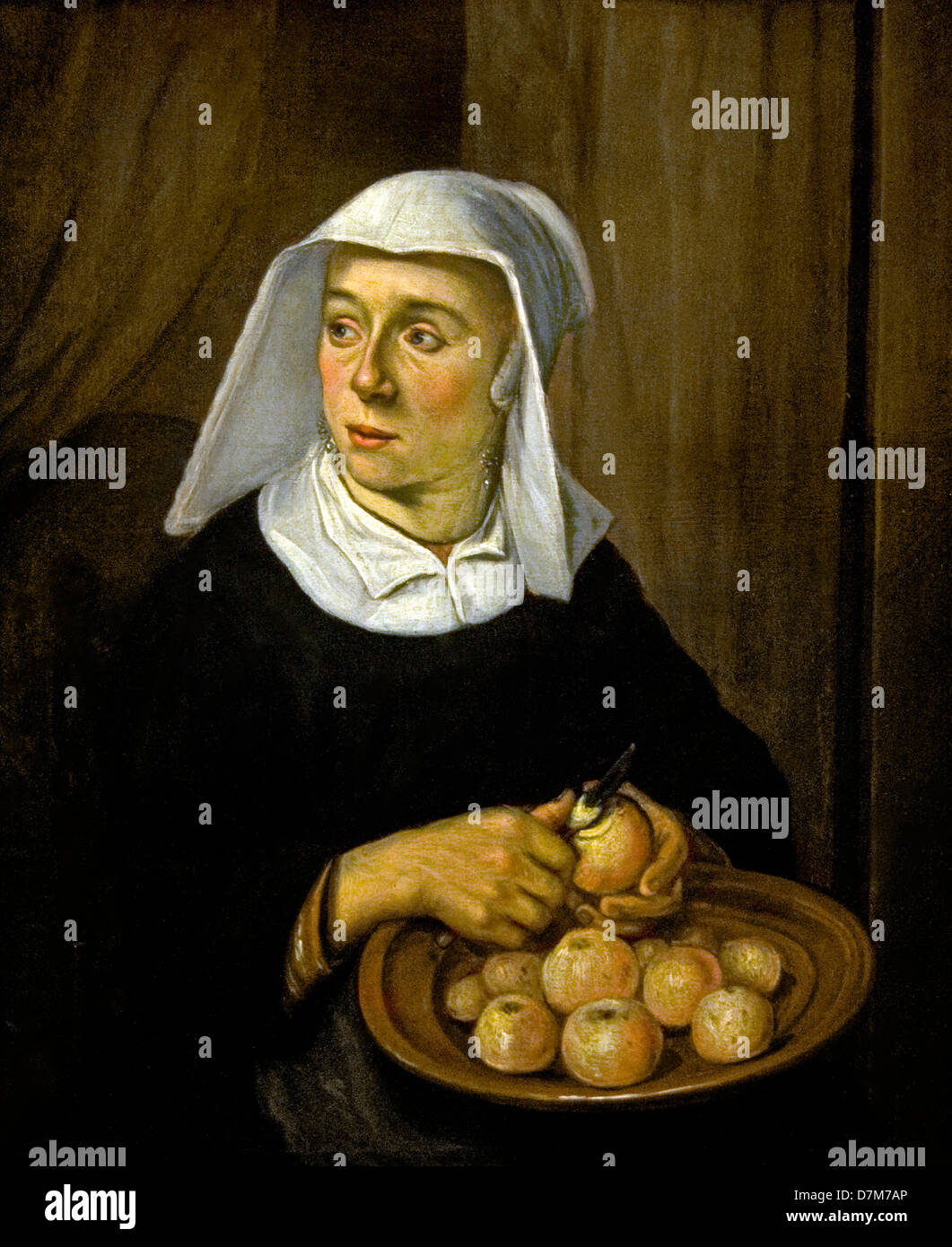 Netherlands Reinier Frans Hals 1582-1666 Painting Woman peeling apples 1650 - Stock Image