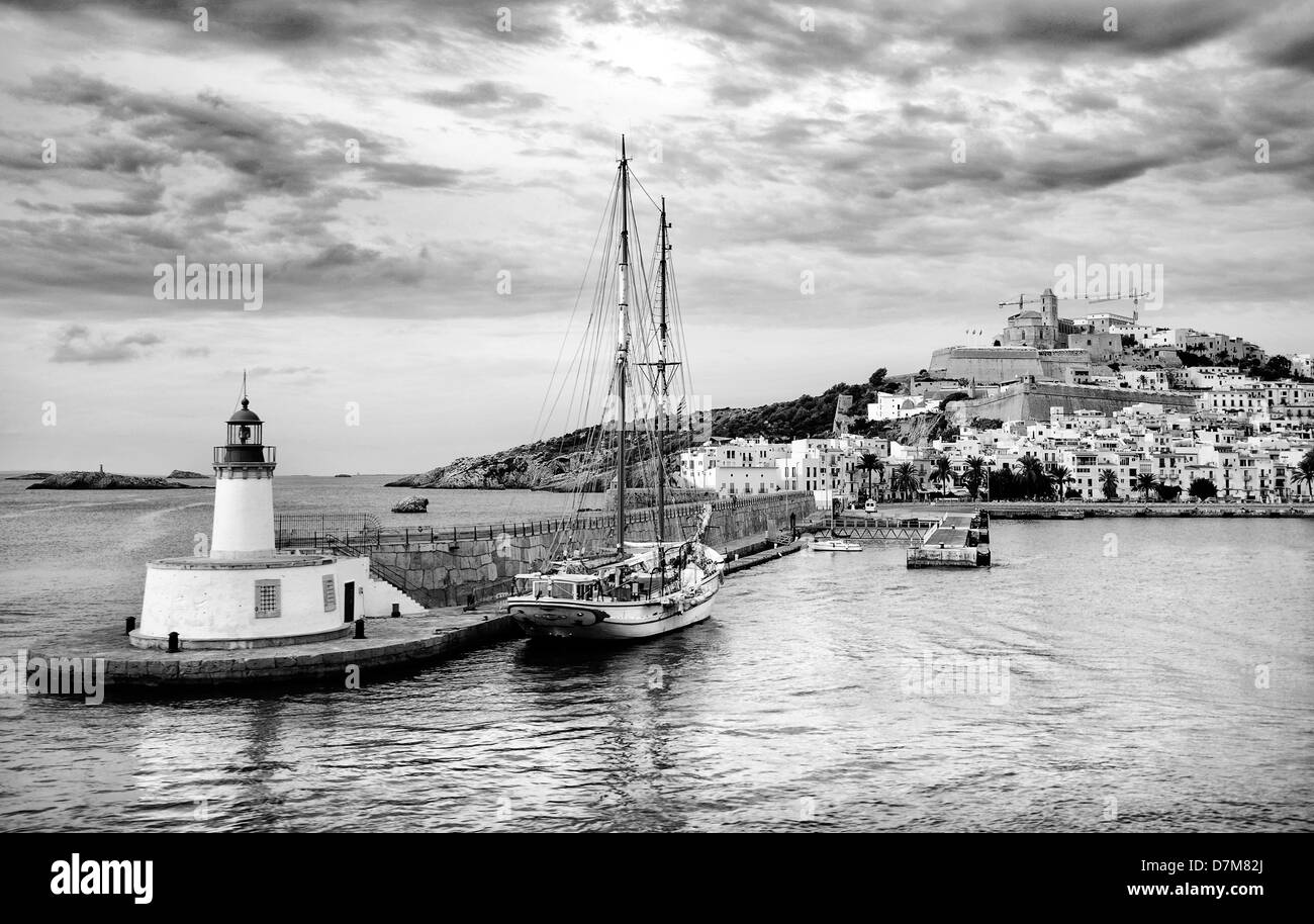 View towards the old city of Ibiza town, Ibiza, Balearic Islands, Spain - Stock Image