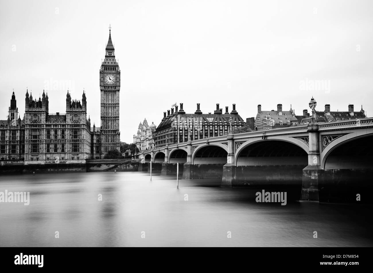 View towards the Palace of Westminster and Westminster Bridge, London, UK - Stock Image