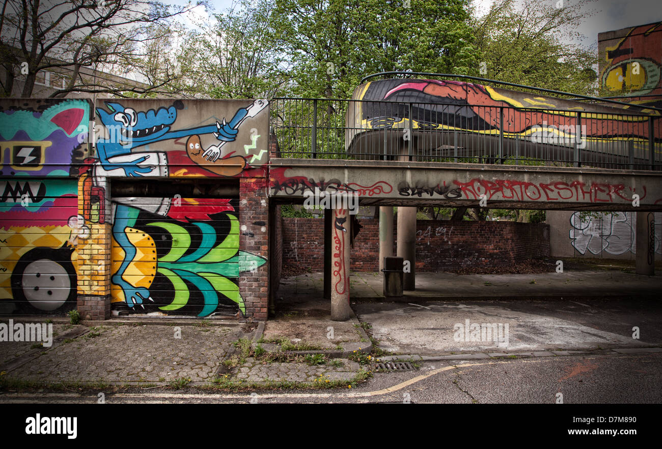 Showing a derelict abandoned council estate in Elephant and Castle, now due for demolition - Stock Image