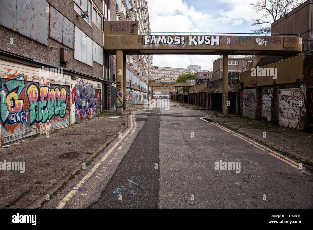Showing a derelict abandoned council estate in Elephant and Castle, now due for demolition Stock Photo