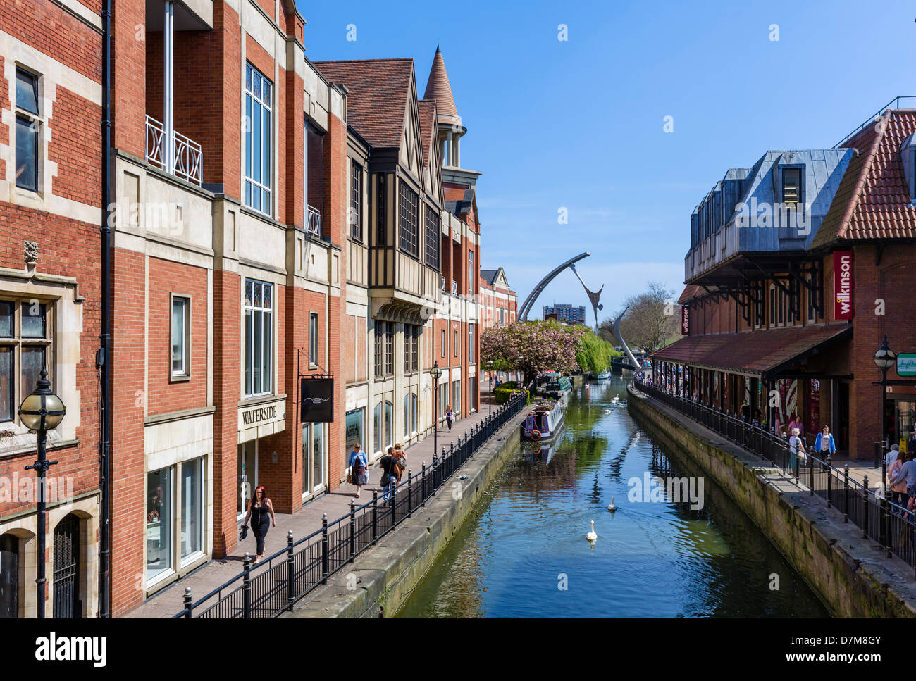 The River Witham in the city centre with the Waterside Shopping Centre to the left, Lincoln, Lincolnshire, England, - Stock Image