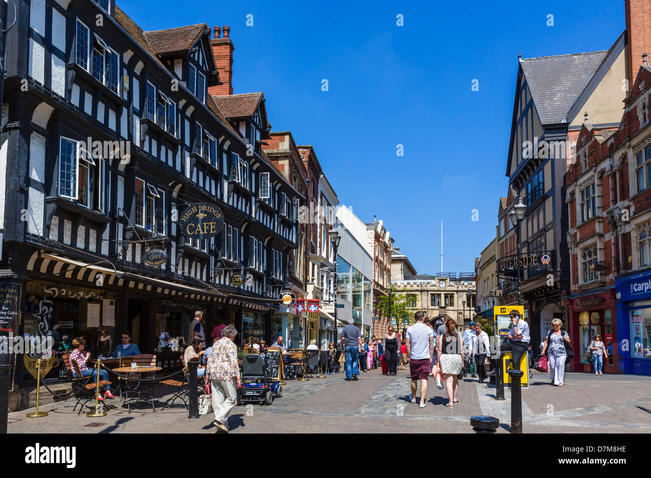 The High Street in the city centre, Lincoln, Lincolnshire, East Midlands, England, UK - Stock Image