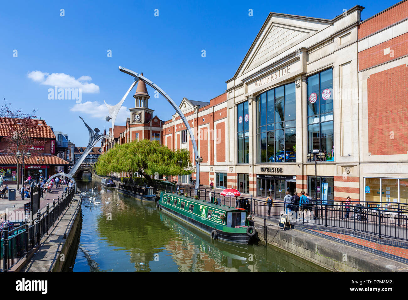 Narrowboat on the River Witham outside the Waterside Shopping Centre in the city centre, Lincoln, Lincolnshire, - Stock Image