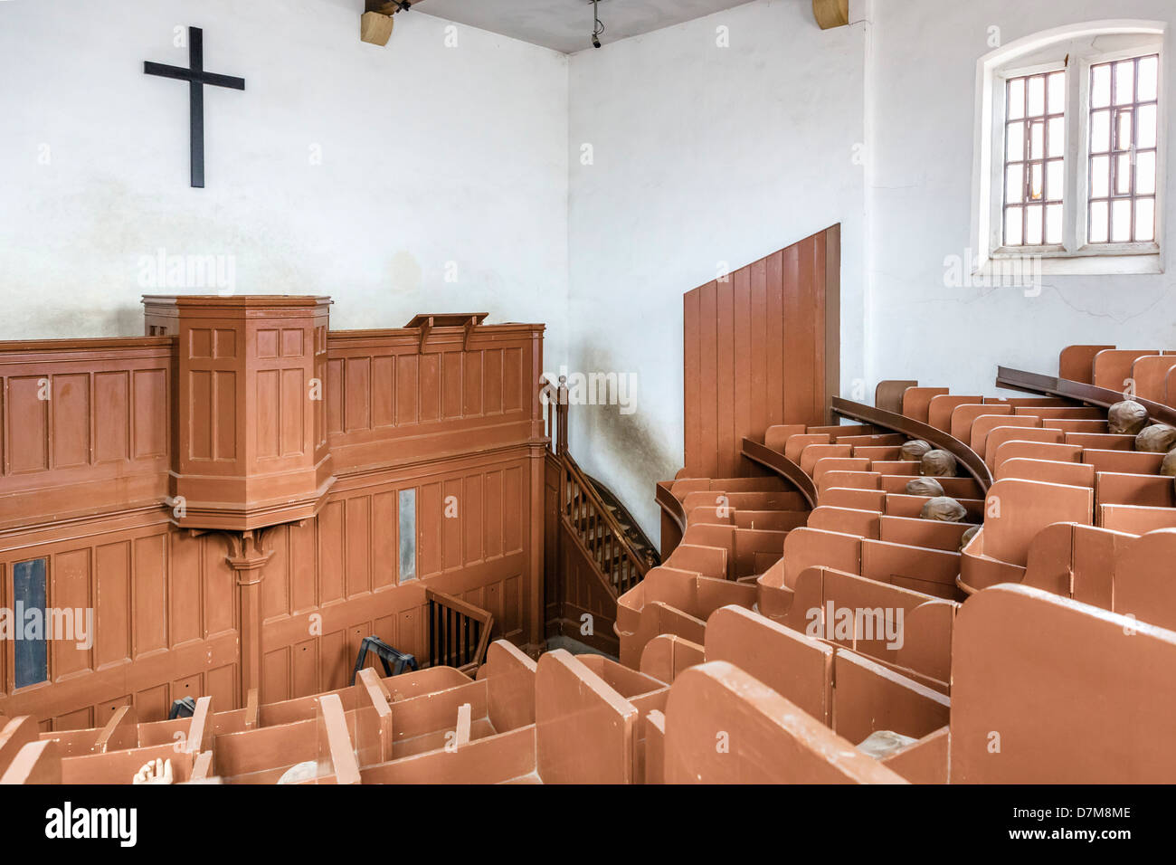 Prison chapel in Lincoln Castle, the only surviving example designed for the 'Separate System' of prison - Stock Image