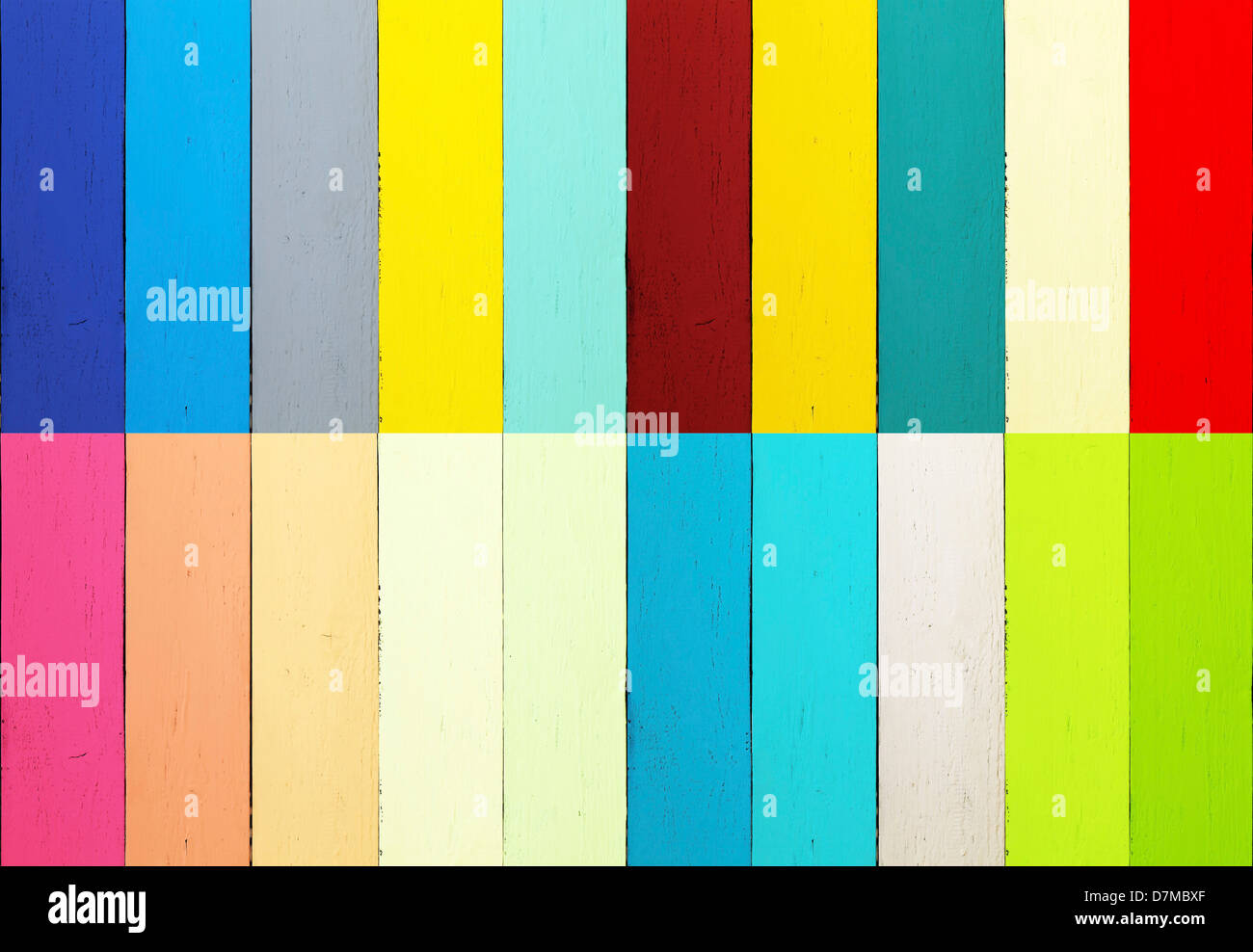 Multicoloured planks - Stock Image