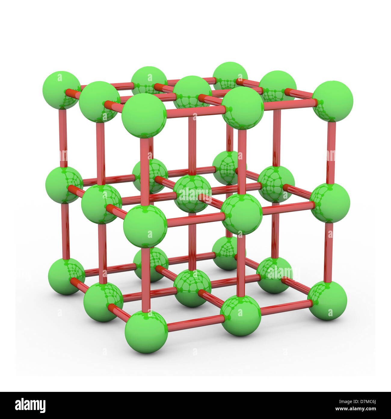 Space-centred cubic crystal structure - Stock Image
