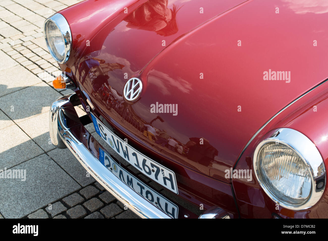 A Volkswagen classic car is presented during the eMotionen show on the market square on May 5, 2013 in Ludwigsburg, - Stock Image