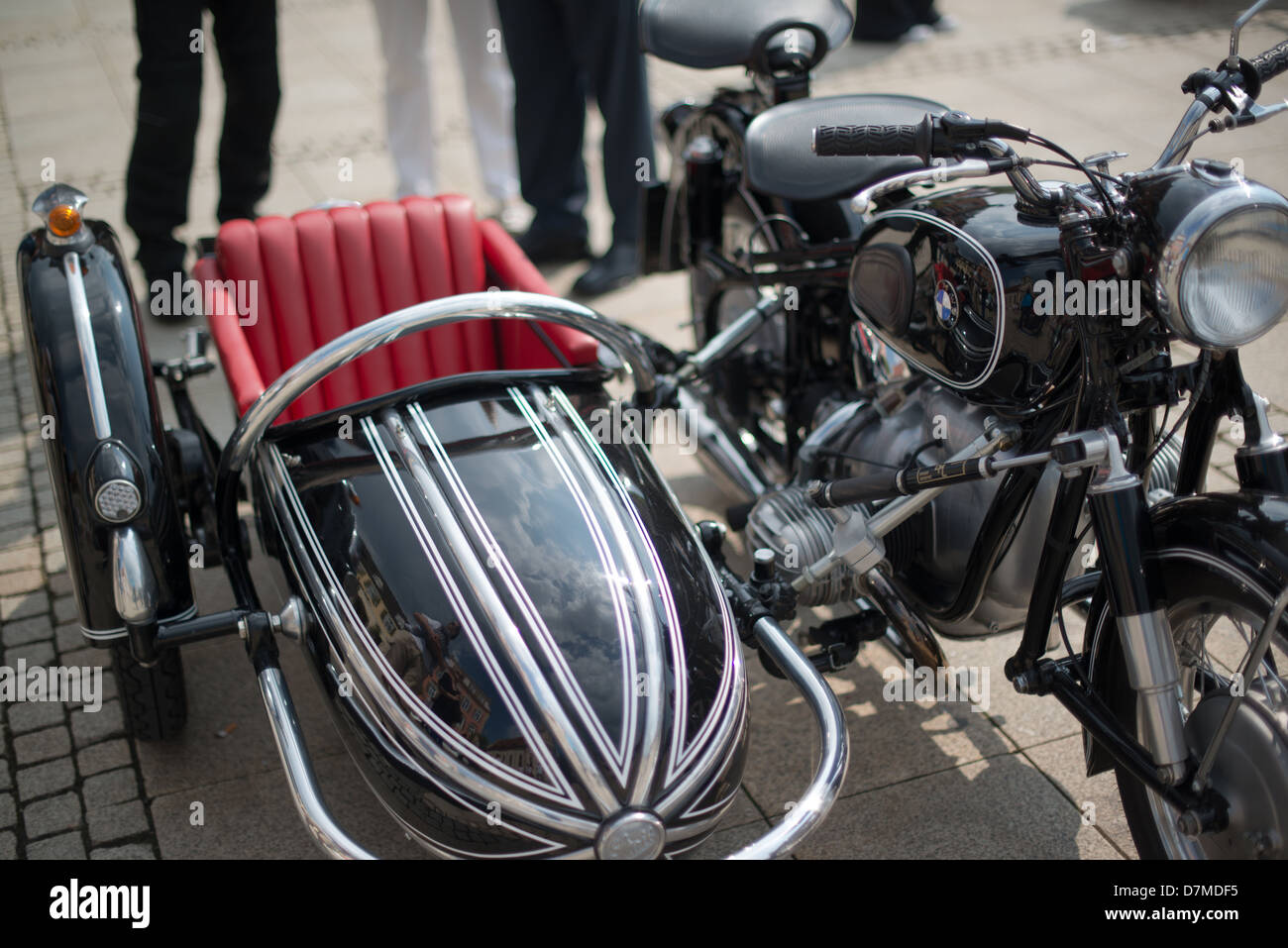 A BMW classic sidecar motorbike is presented during the eMotionen show on the market square on May 5, 2013 in Ludwigsburg, - Stock Image
