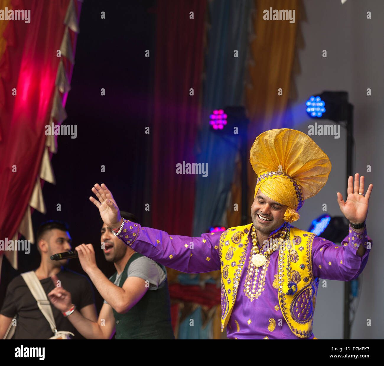 Performers at the Vaisakhi Festival in London. - Stock Image