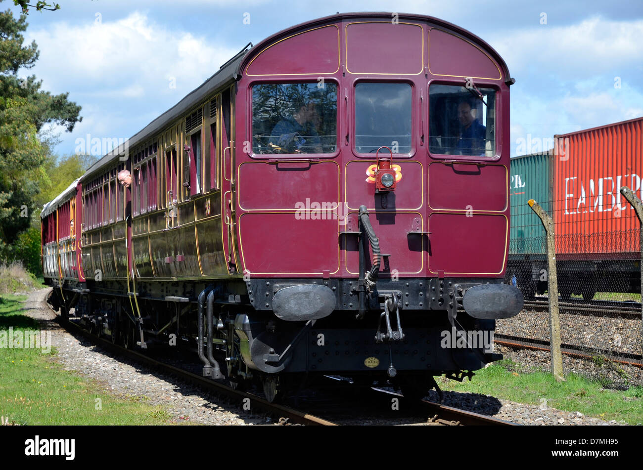 Rebuilt GWR steam railmotor/steam multiple unit at its Didcot Railway Centre base. The precursor of modern multiple - Stock Image
