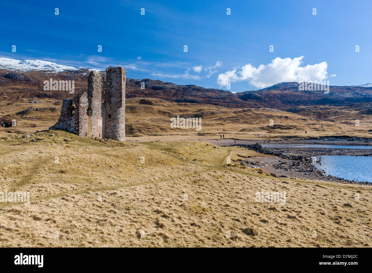 Ardvreck Castle, ruined castle dating from the 16th century, Loch Assynt in Sutherland, north west Highland, Scotland - Stock Image