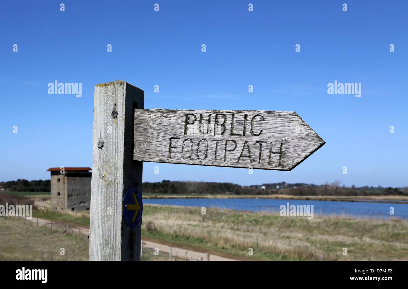 public footpath sign at bawdsey on the suffolk coast - Stock Image