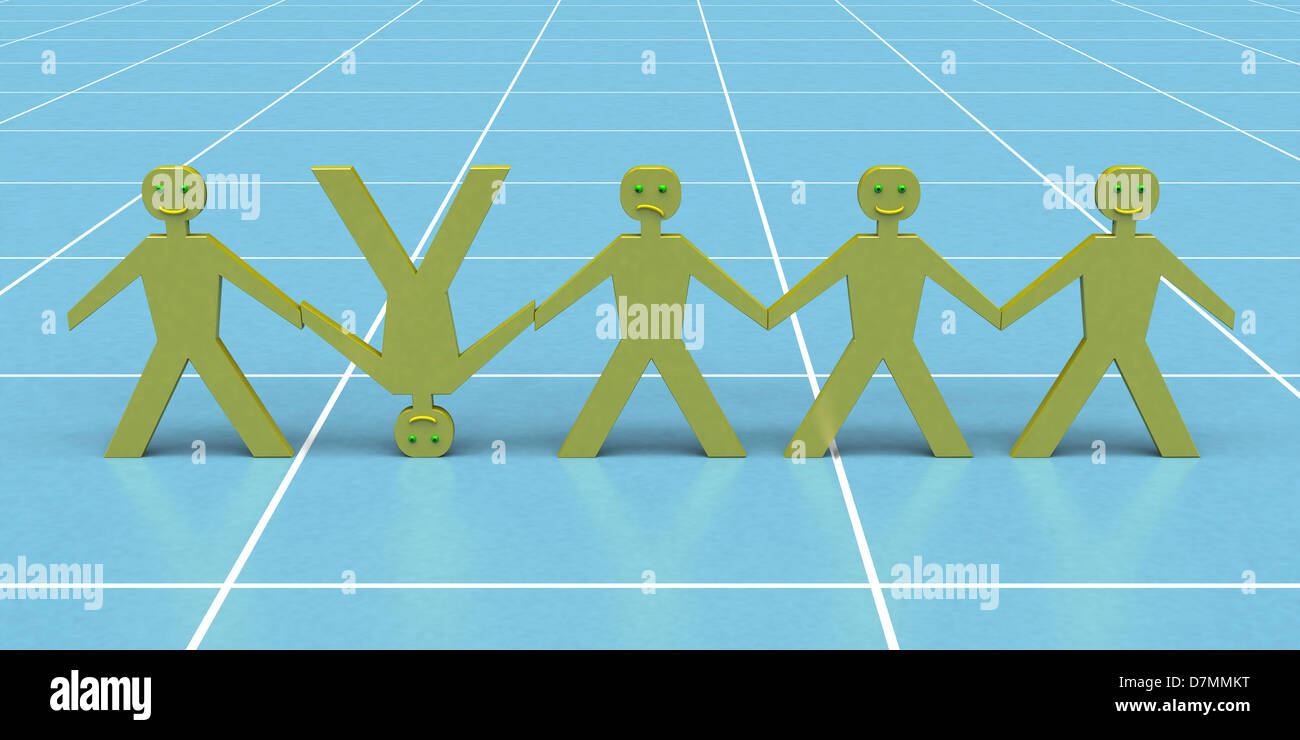 Odd one out, conceptual artwork - Stock Image