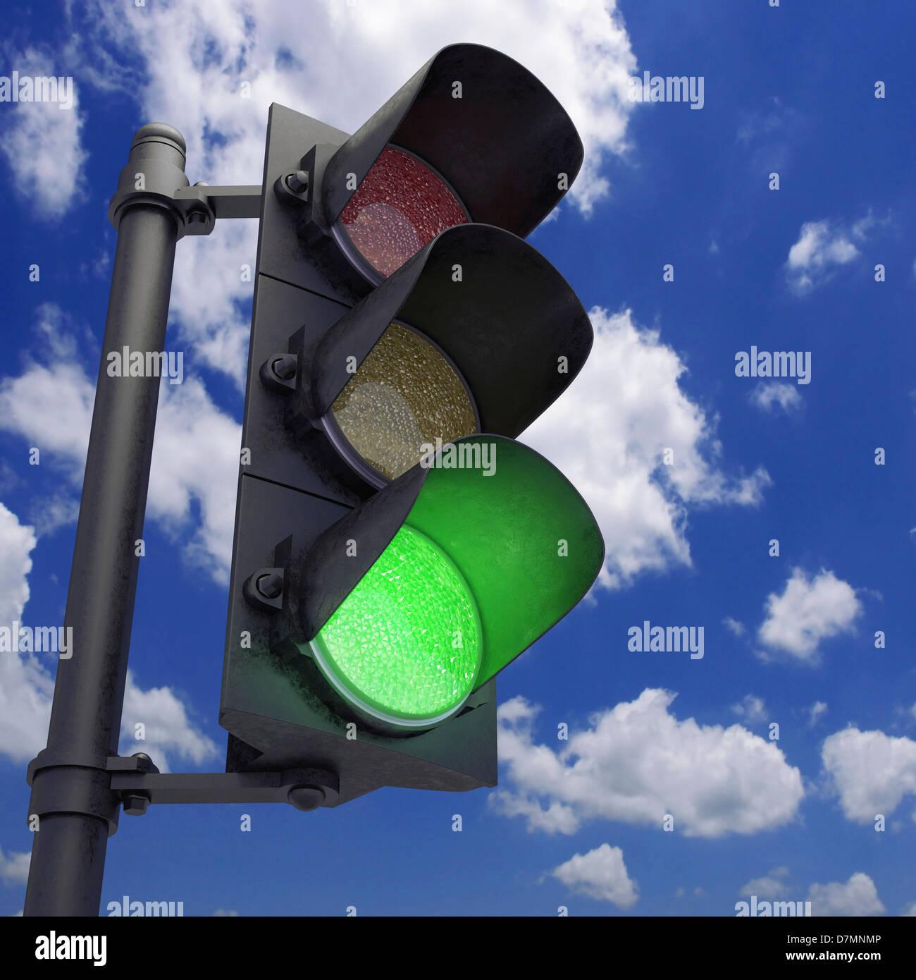 Green traffic light, artwork - Stock Image