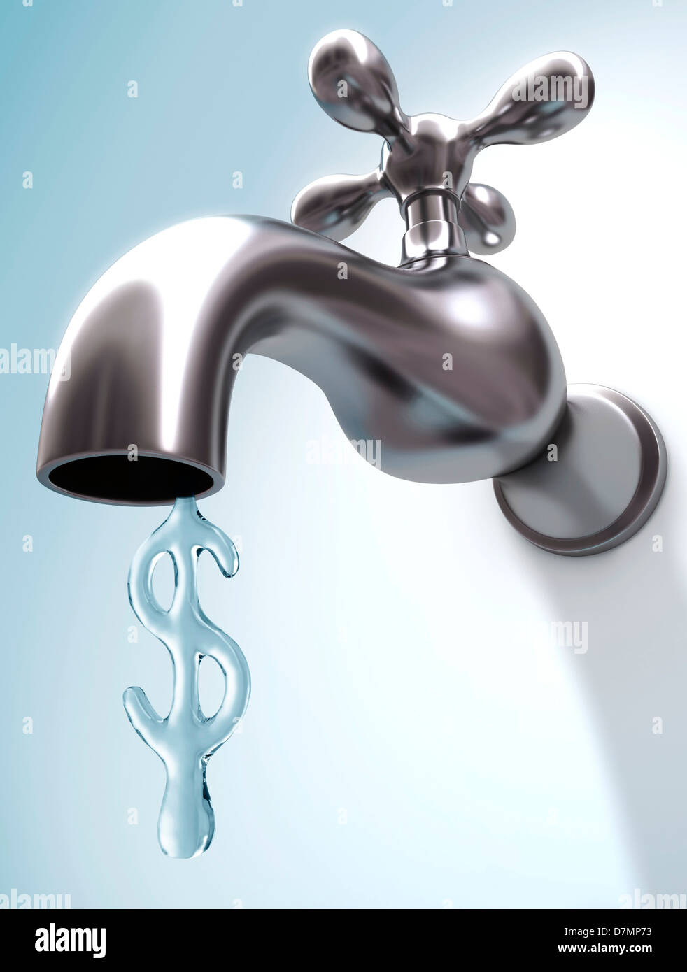 Cost of water, conceptual artwork - Stock Image