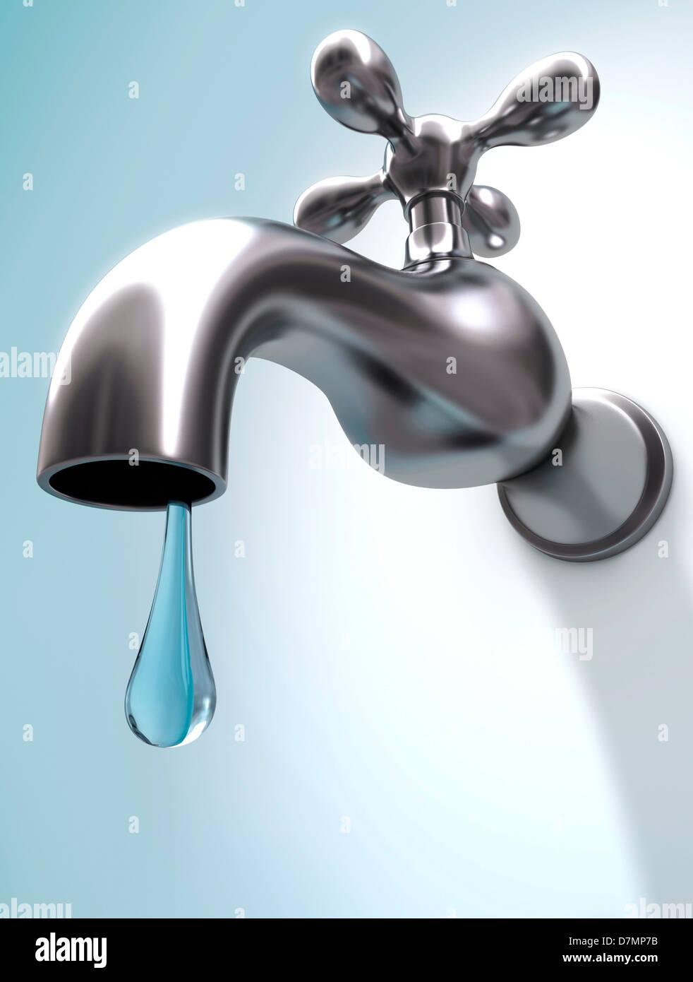 Dripping tap, artwork Stock Photo: 56390191 - Alamy