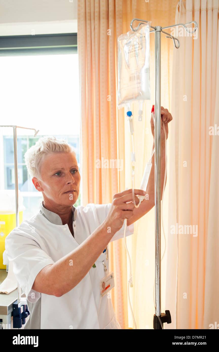 Nurse preparing IV drip - Stock Image