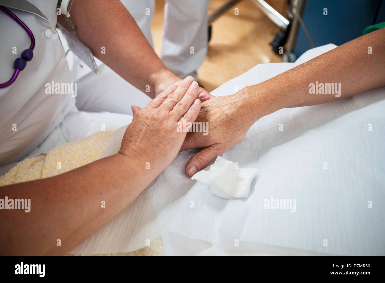 Nurse preparing a patient for an IV line - Stock Image