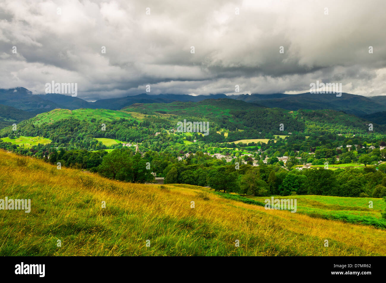 Ambleside viewed from the western slope of Wansfell in the Lake District, Cumbria, England. - Stock Image