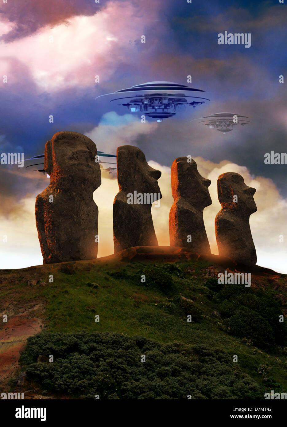 UFOs over Easter Island, artwork - Stock Image