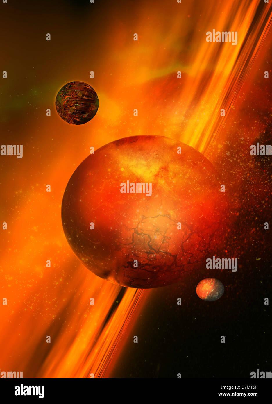Planetary formation, artwork - Stock Image