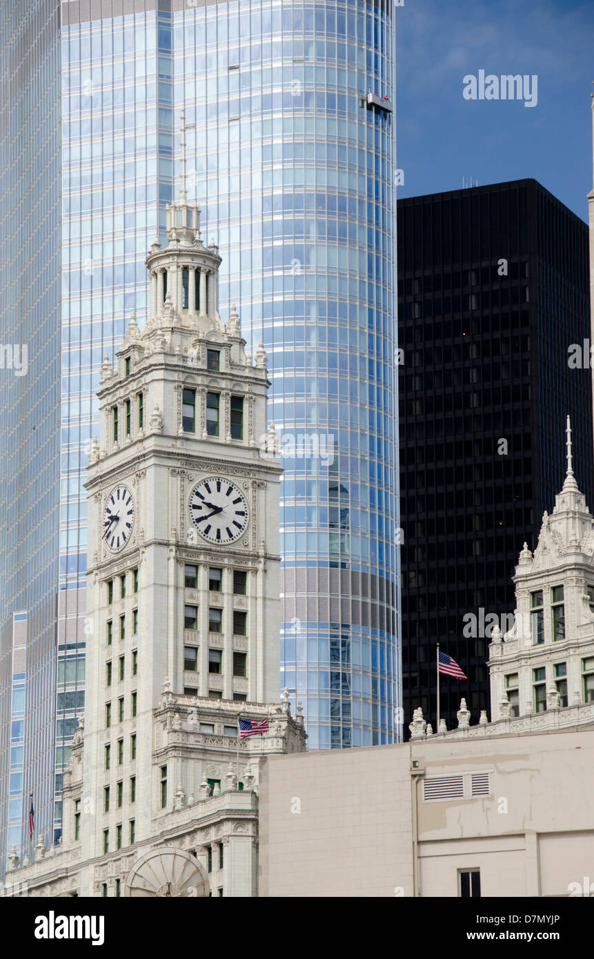 Illinois, Chicago. Historic Wrigley Building clock tower, c. 1920, located on Chicago's Magnificent Mile. - Stock Image