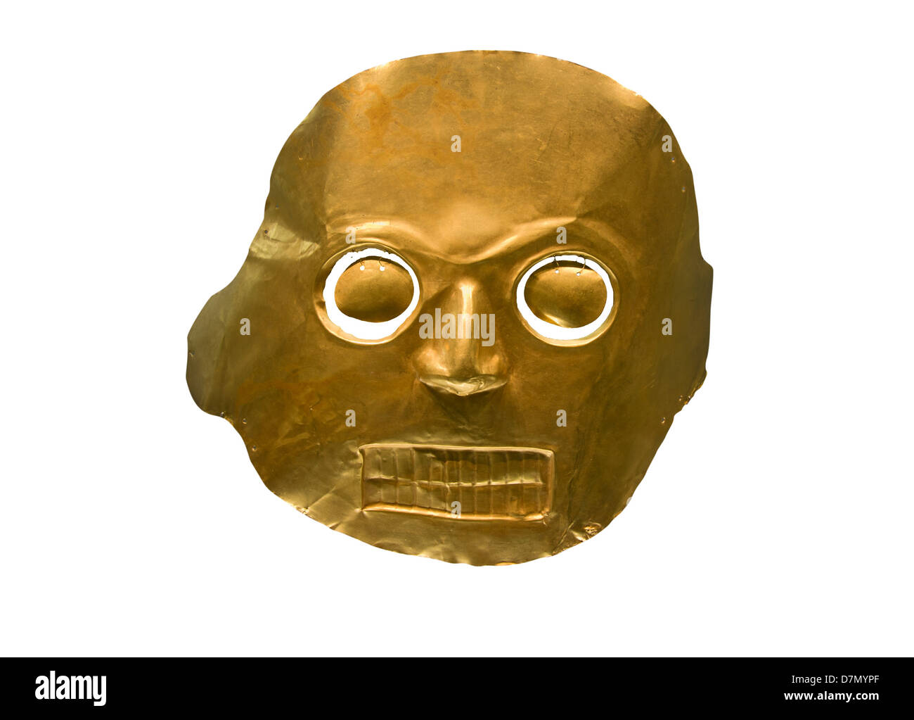 Funerary mask. Gold Museum Bogota, Colombia - Stock Image