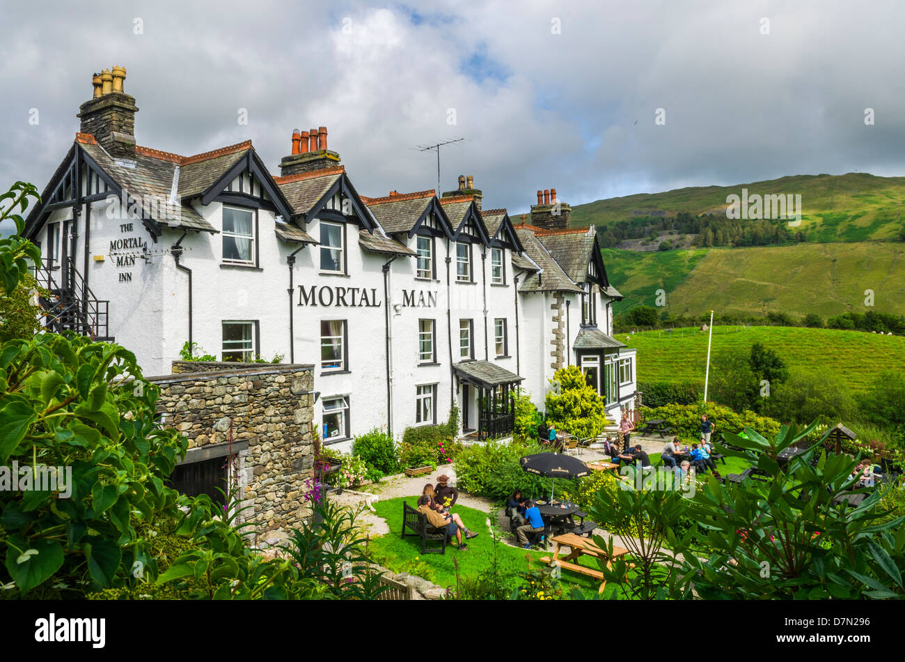 The Mortal Man Inn at Troutbeck in the Lake District, near Windermere, Cumbria, England. - Stock Image