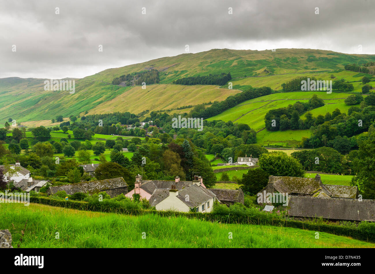 The village of Troutbeck near Windermere in the Lake District, Cumbria, England. - Stock Image