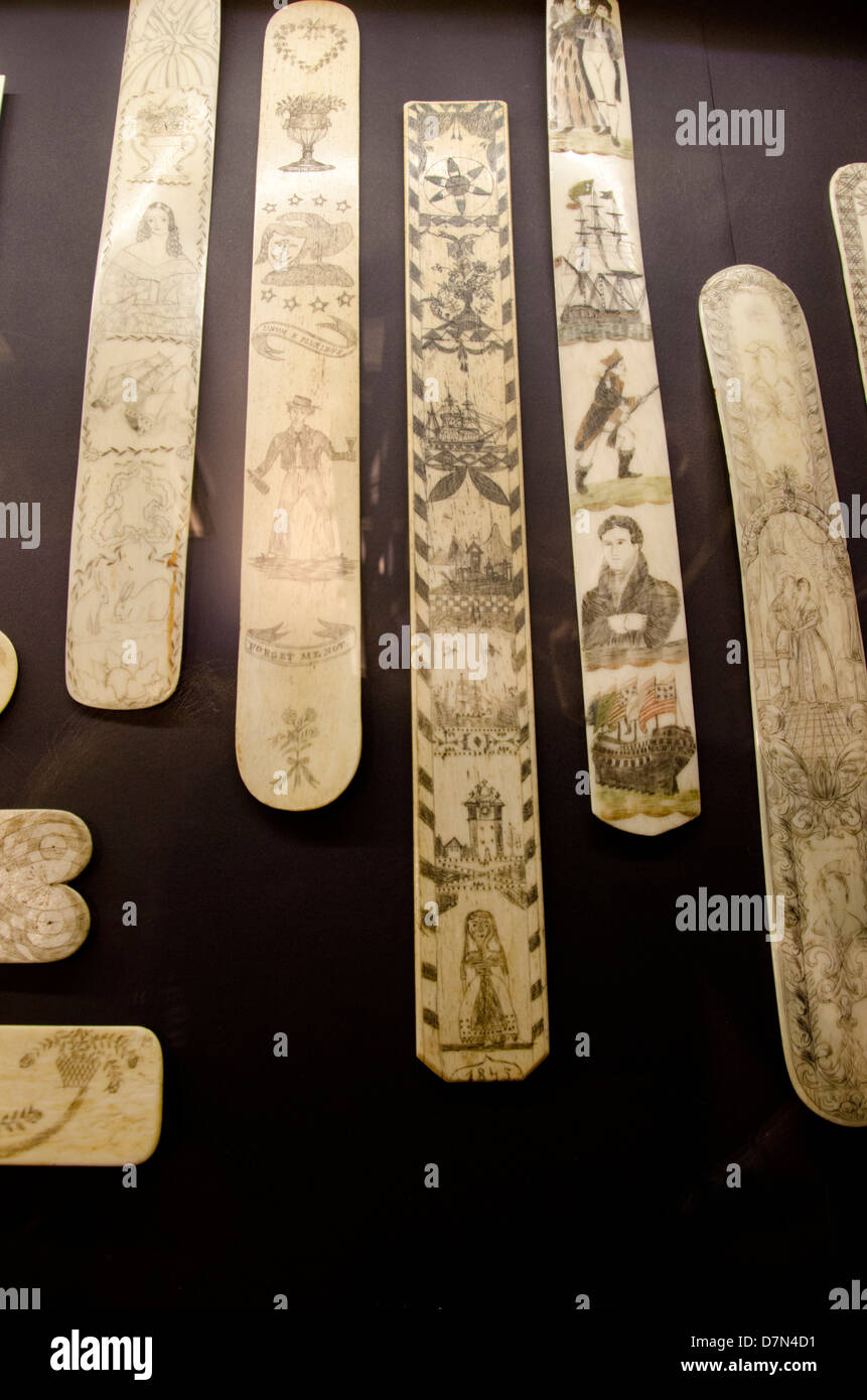 Massachusetts, New Bedford. New Bedford Whaling Museum. Collection of traditional whalers Handmade scrimshaw corset - Stock Image