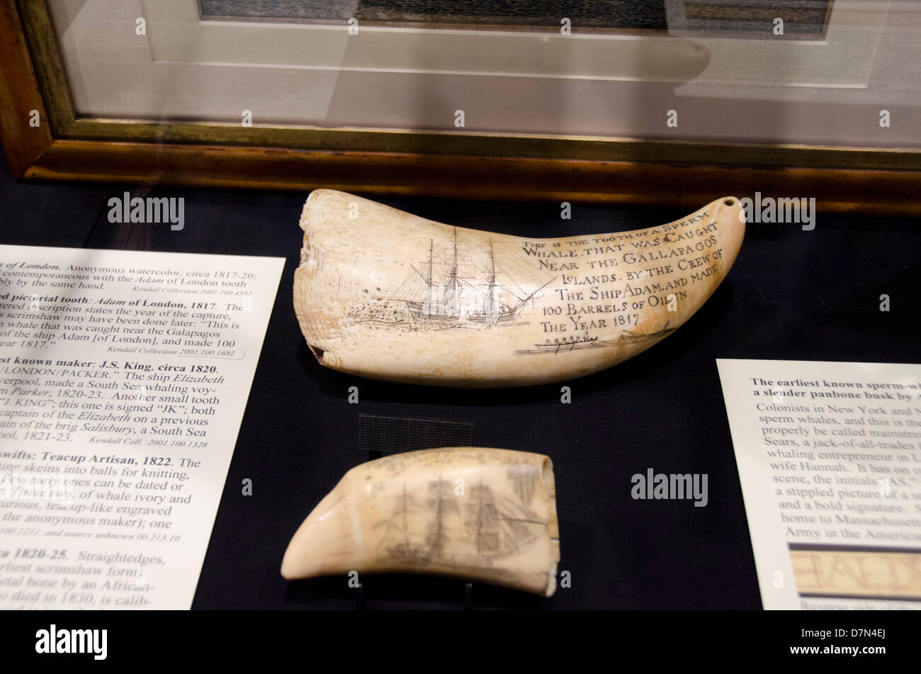 Massachusetts, New Bedford. New Bedford Whaling Museum. Collection of traditional whalers Handmade scrimshaw. - Stock Image