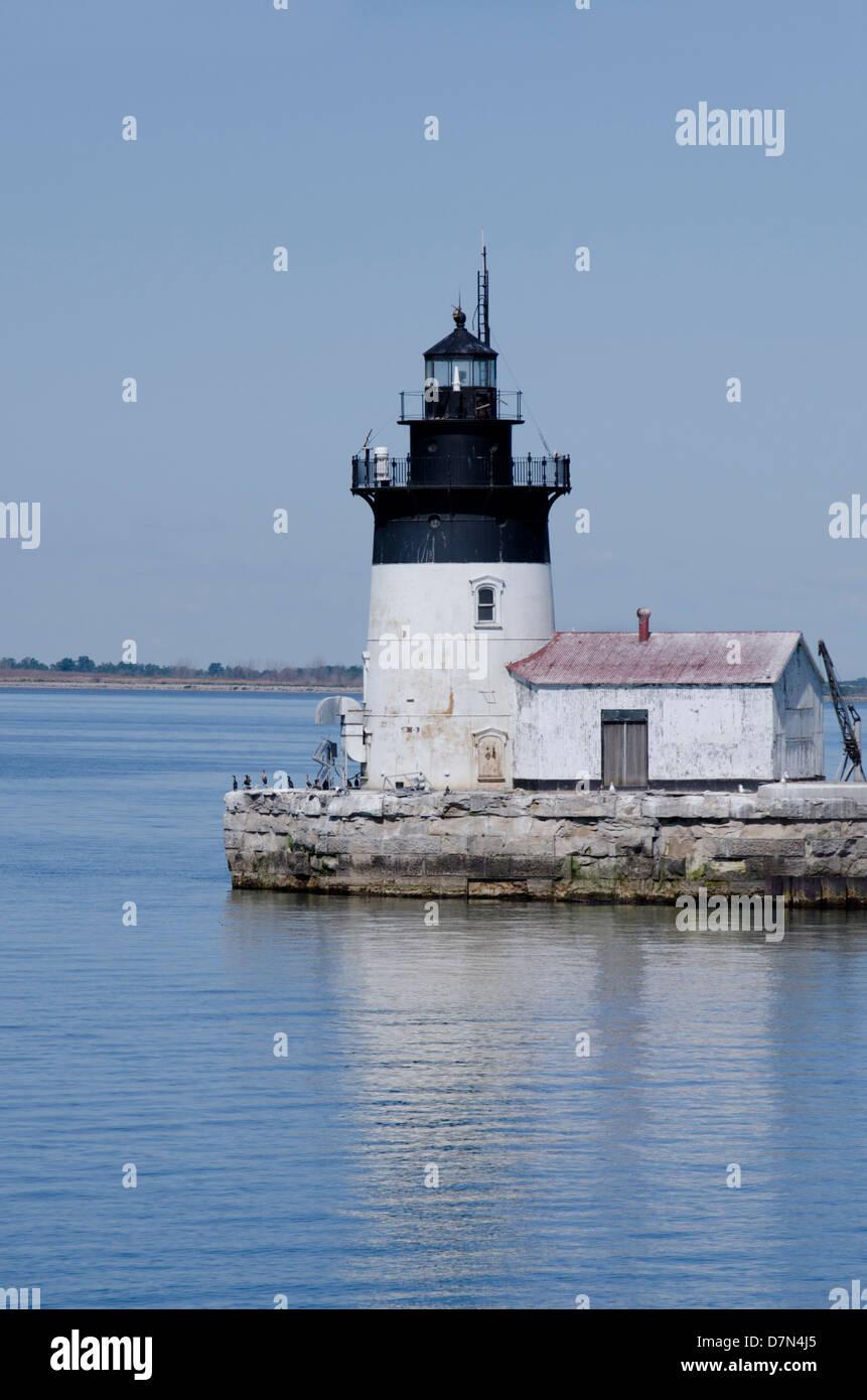 Michigan, Lake Erie, Detroit River, Wyandotte. Detroit River Light (aka Bar Point Shoal), circa 1885. - Stock Image