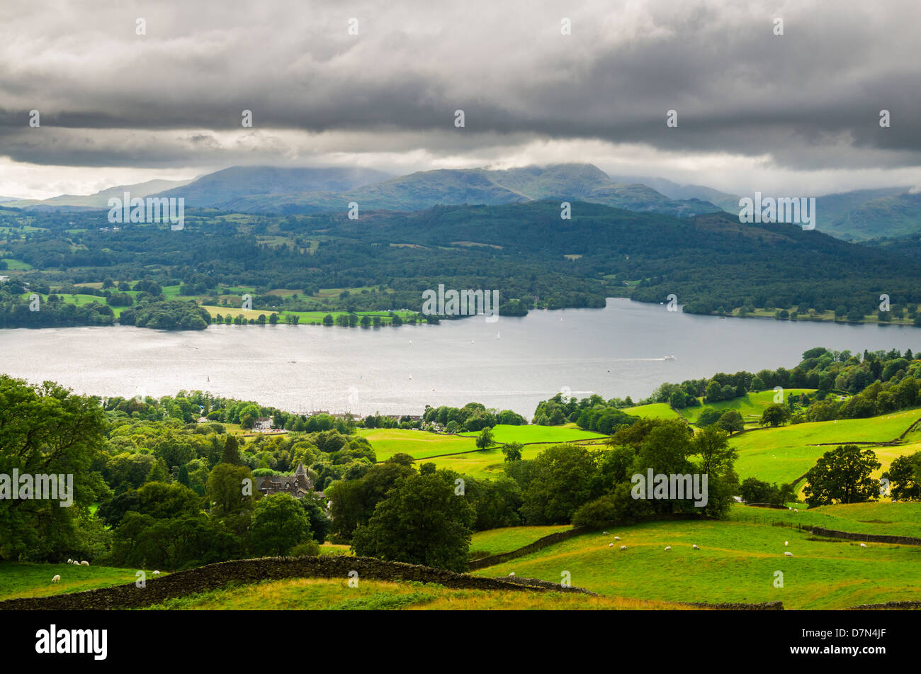 The lake of Windermere viewed from Wansfell in the Lake District, Cumbria, England. - Stock Image