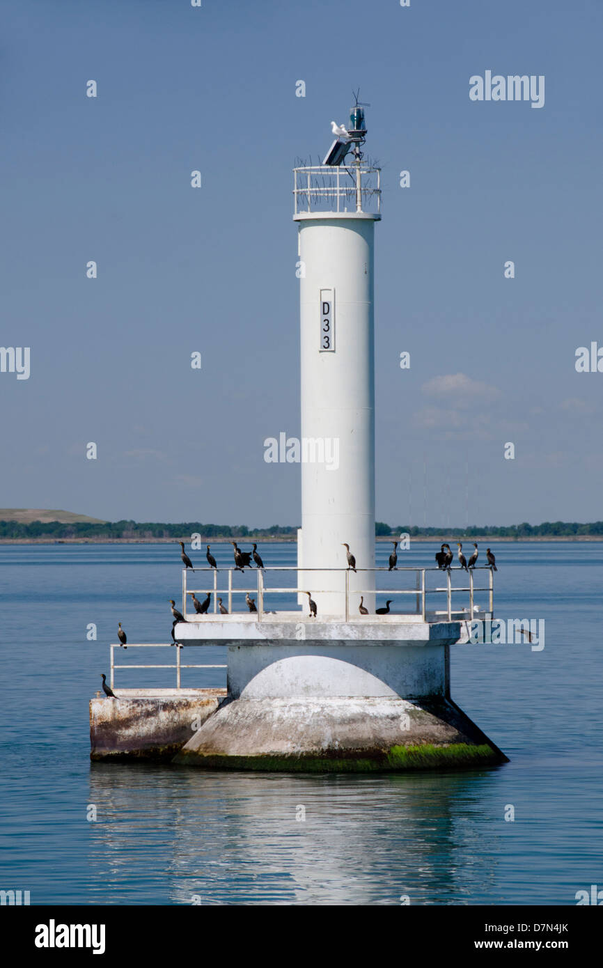 Michigan, Lake Erie, Detroit River, Wyandotte. Detroit River marker, D33. - Stock Image