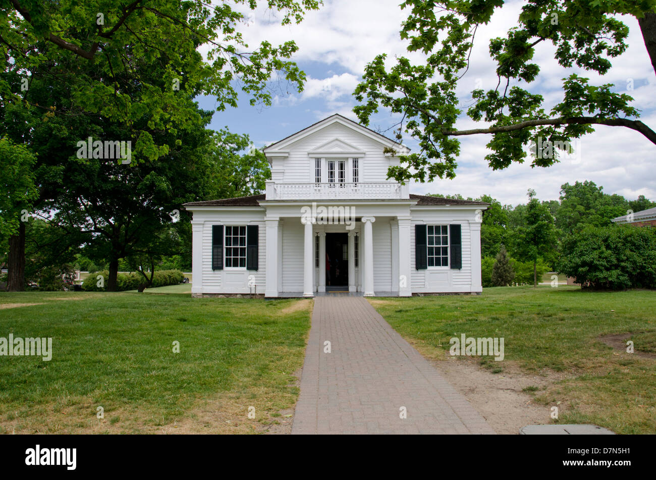 Michigan, Wyandotte. Greenfield Village. Poet Robert Frost's Home, c. 1835, built in Ann Arbor, Michigan. Stock Photo