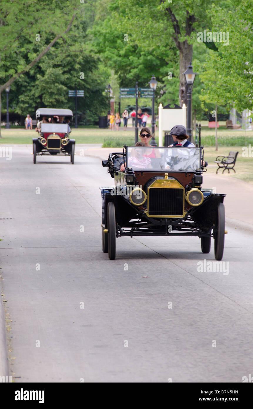 Michigan, Wyandotte. Greenfield Village. Vintage Ford convertible automobile. National Historical Landmark. Stock Photo