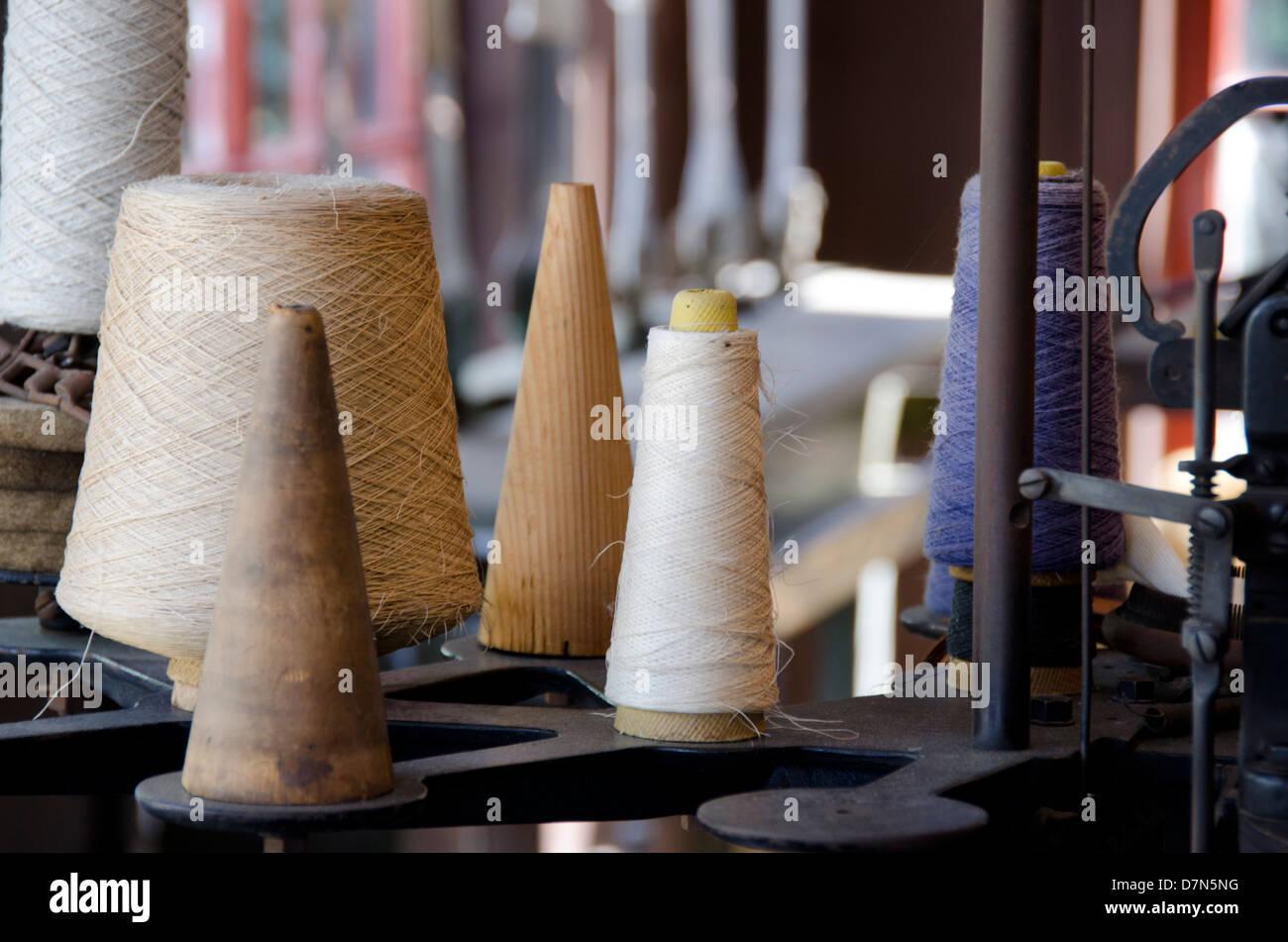 Michigan, Wyandotte. Greenfield Village. Weaving textile shop. National Historical Landmark. Stock Photo